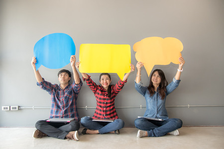 People asian of young and adult people survey Assessment Analysis Feedback Icon.  Business Team Speech Bubble Holding Concept.