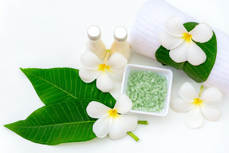 Thai spa composition treatments aroma therapy  Plumeria flowers on white wooden.  Healthy Concept.