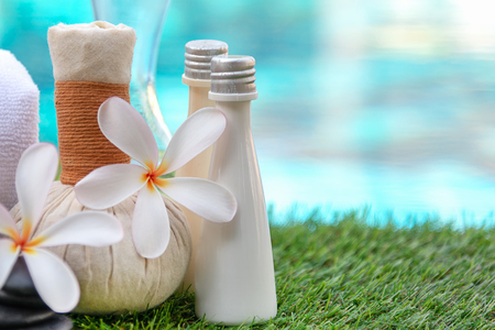 Frangipani plumeria Spa Flower treatment and massage, relax and healthy care.  Thai Spa.  Healthy Concept.