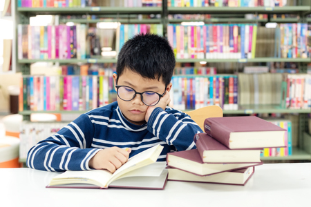 Kids asian boy reading books for education and go to school in library . Education and Lifestyle Concept Banco de Imagens - 120819665