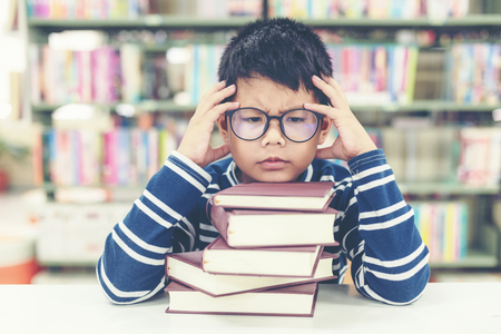 Schoolboy reading books for education and go to school  in library . Education and Lifestyle Concept Banco de Imagens