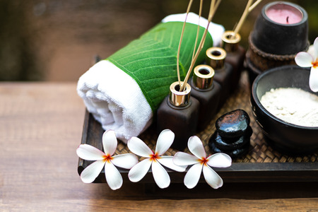 Spa body treatment for beauty and aroma therapy product for female feet and hand spa relax and healthy care, Thailand. Healthy and Relax Concept.
