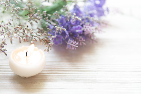 Lavender aromatherapy Spa with candle. Thai Spa relax Treatments and massage concrete background. Healthy Concept. Top view and Copy space for text