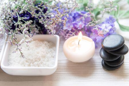 Spa treatment and product for female feet and manicure nails spa with lavender flower and rock stone, copy space, select focus, Thailand. Healthy Concept