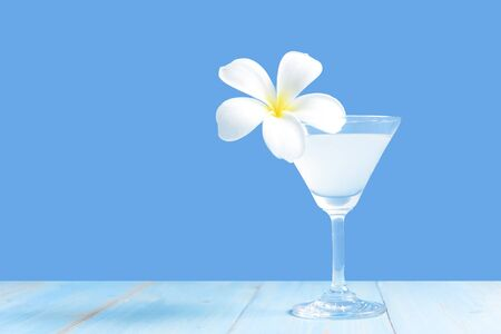 Summer in the party in holiday.  Tasty cocktail blue background.  Summer and  Vacations Concept