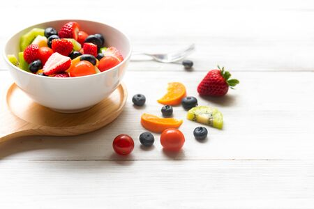 Healthy Fruits.  Fresh fruits salad diet slim fit for healthy lifestyle women.  Weight Loss and Diet Concept