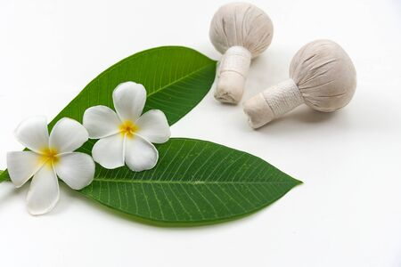 Frangipani plumeria Spa Flower and aroma body care on white wooden, soft focus