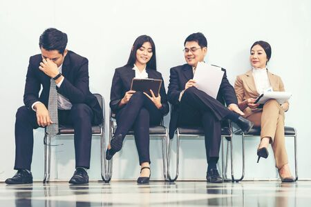 Group asian young and adult of asian people waiting for job interview recruitment. Business Life Concept