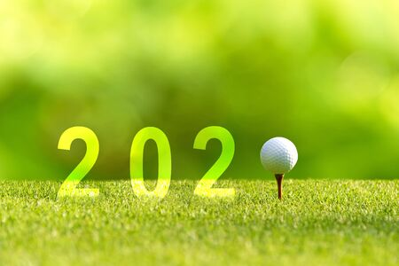 Golf ball for Happy New Year 2020 on the green golf for new healthy sporty, copy space. Healthy and Holiday Concept.