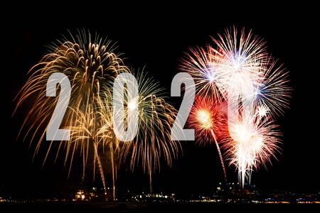 Fireworks in night for celebrate Happy New Year 2020 holiday festival and congratulation and celebrate for change new life future. Holiday Concept