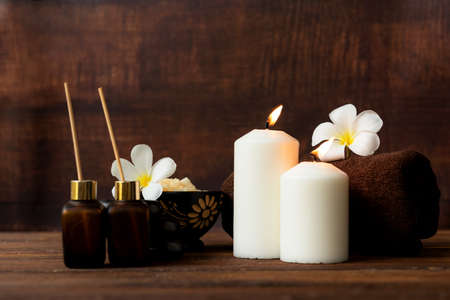 Thai spa massage.  Spa body treatment and beauty wellness. Therapy aromatherapy for body women with candles for relax spa massage and wellness setting ready healthy lifestyle.