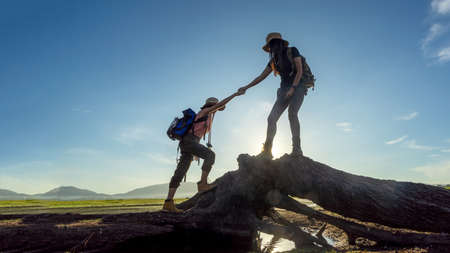 Group Hiker team woman helping her friend climb up timber. Traveler teamwork and family relax walking in outdoor lifestyle adventure and camping. Mountain nature background Stock Photo