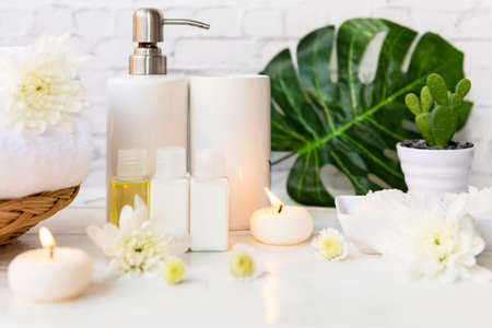 Spa beauty massage health wellness. Spa Thai therapy treatment aromatherapy for body woman with white flower nature candle for relax and summer time. Lifestyle and cosmetic Concept