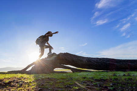Hiker woman helping her friend climb up timber. Traveler people relax walking in outdoor lifestyle adventure and camping. Mountain nature background Stok Fotoğraf