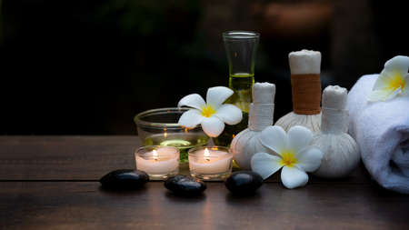Thai spa massage. Spa treatment cosmetic beauty. Therapy aromatherapy for care body women with candles for relax wellness. Aroma and salt scrub setting ready healthy lifestyle.