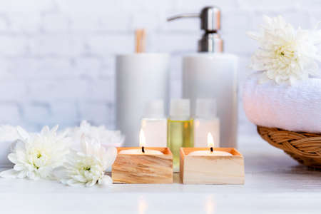 Spa beauty massage health wellness. Spa Thai therapy treatment aromatherapy for body woman with white flower nature candle for relax and healthy care. Lifestyle and cosmetic Concept