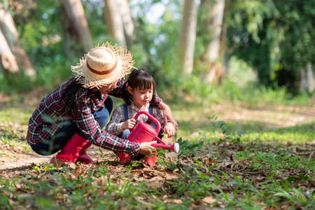 Asia family mom and kid daughter plant sapling tree outdoors in nature spring for reduce global warming growth feature and take care nature earth. Environment Concept Фото со стока
