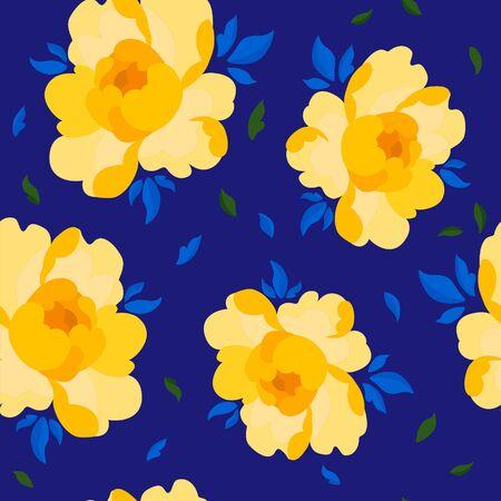 Flower yellow peony pattern