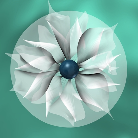 FLOWER AND TRAPPED IN SHADED BLUE CIRCLE A Stock Photo