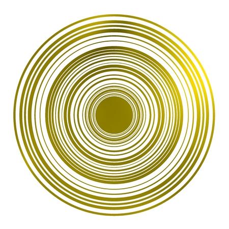 magnetismo: Forma del cerchio geometrico vivace. Cerchio e circonferenza degradati dal bagliore giallo