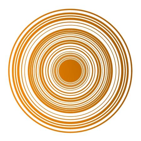 Vibrant geometric circle shape. Circle and circumference degraded by orange glow Stock Photo