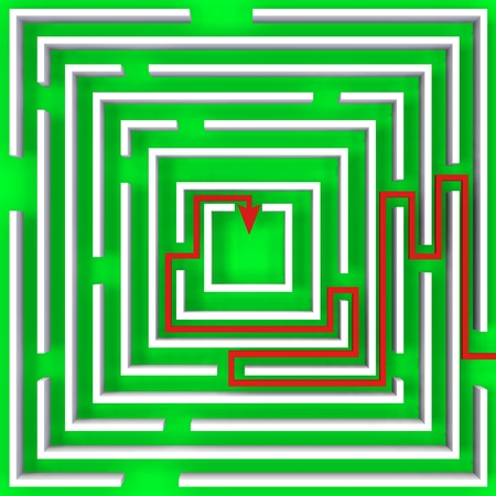 shortest: Labyrinth as a representation of a question. With shortest way Stock Photo