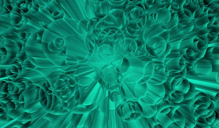 hypnotizing: Emerald dynamic background with burst of circles in perspective Stock Photo
