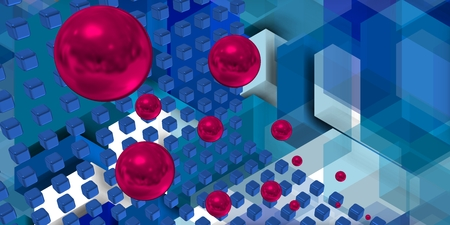 Image With combining cubes floating spheres. Stock Photo