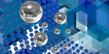interconnected: Image combining floating spheres and cubes With a bluish background.