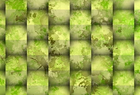 greenish: Stain over big cubes.
