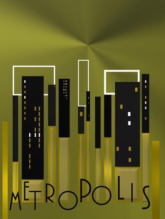 Urban background over golden buildings Imagens