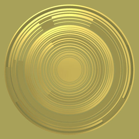 Concentric circles over bright golden. Stock Photo