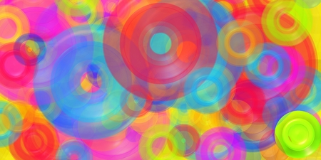 Abstract composition with colorist circles in the mist. Stock Photo