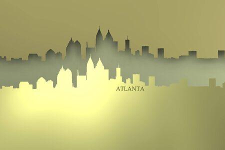 Brights relief of atlanta skyline Stock Photo