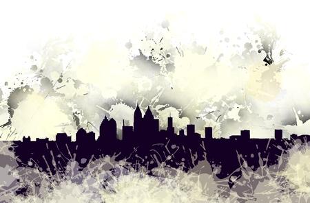 Stain of Atlanta skyline. Stock Photo