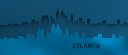 Blue relief of Atlanta skyline.