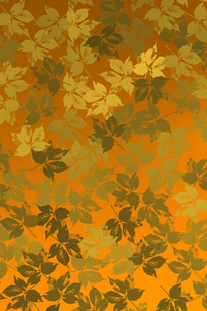 Golden leaves over yellowish background. Imagens