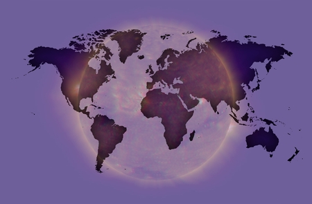 world map over sun background in violet