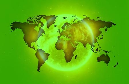 world map over sun in green