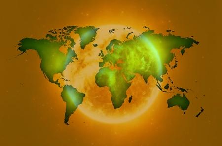 world map over sun in greenish