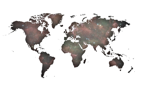 Silhouette of World map over violet celestial background