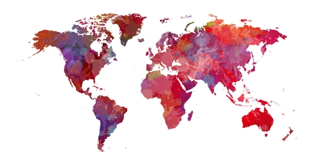 Redish map of the world with colorist background.