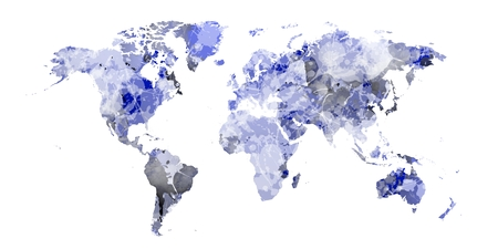 world map with blue shadows