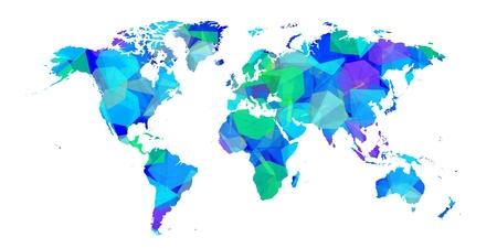 Bluish world map with diamonds.