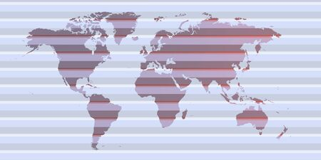 worldmap with lines of shadows over purple worldmap Foto de archivo