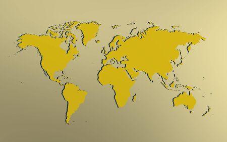 iconic image of yellowish world map over bright background Reklamní fotografie
