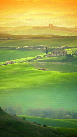 Tuscan hill, the Tuscany landscape shot with orange gradual filters
