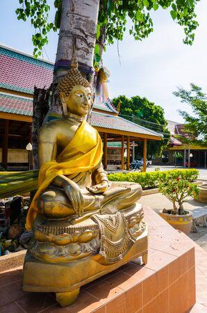 karmic: Buddha statue under Bodhi tree Stock Photo