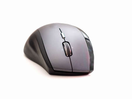 Black Contemporary computer mouse on white background photo
