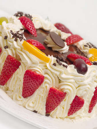 layer style: Delicious cream layer cake with  strawberries Stock Photo